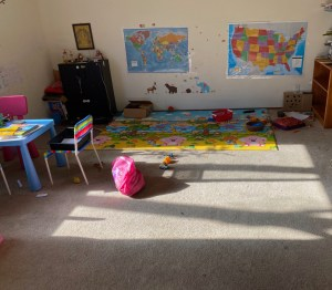 Planned play area for preschooler and toddler