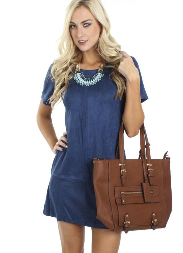 """Suede - """"Suede Mini Dress Navy"""" ($38.99) - sophieandtrey.com"""