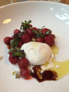 Seasonal strawberries and Mozzarella at The Finch