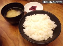 Miso soup, pickles, and Japanese rice.