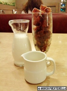 Kori Kohi (P220): Frozen coffee cubes served with warm milk and syrup.