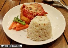Chicken Parmigiana (P390): Chicken roulades with ham and cheese, breaded and fried with tomato sauce and parmesan cheese on top.