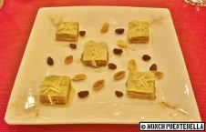 Almond Baklava (P183): Layers of filo pastry with chopped almond filling, with nuts and raisins.