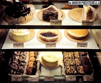 Cakes on display.