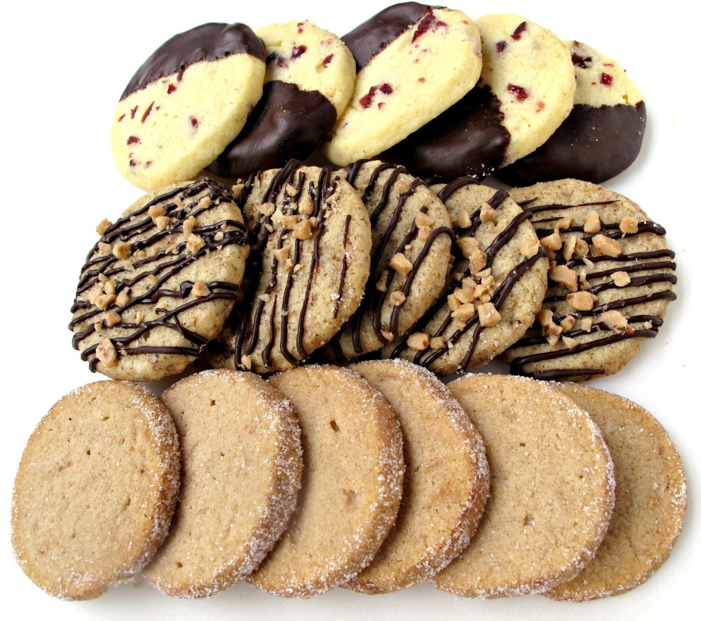 Slice-and-Bake Shortbread : one dough, three cookie flavors in rows
