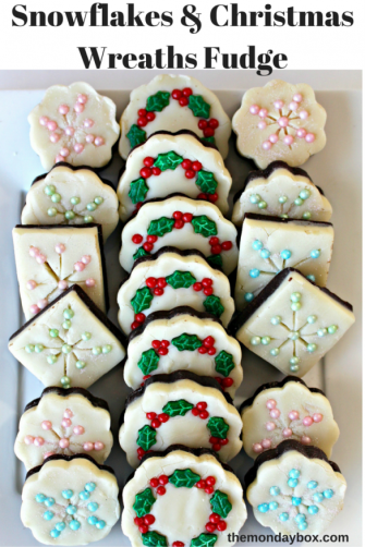 Snowflakes and Christmas Wreaths Fudge- This super simple recipe, with ONLY 3 INGREDIENTS, makes a sweet, creamy 2-layer fudge. Add a few sprinkles to turn plain fudge into sparkling Snowflakes and festive Christmas Wreaths.|The Monday Box