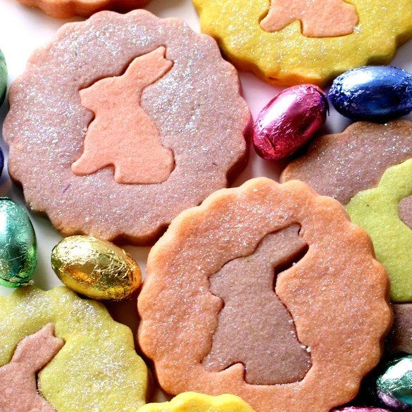 Purple and orange cookies with pink and purple bunny centers