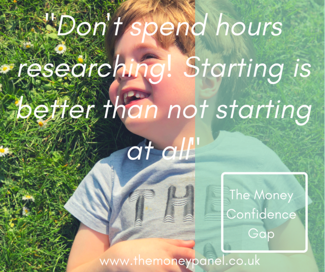small boy laying on the green grass smiling text overlay 'don't spend hours researching! starting is better than not starting at all'