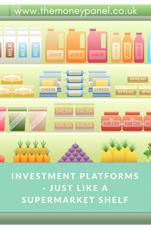 picture of a supermarket shelf with numerous different products on there text overlay 'investment platforms - just like a supermarket shelf'