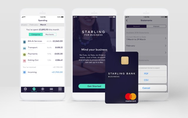 screen shot of starling bank app on mobile phones and starling bank card