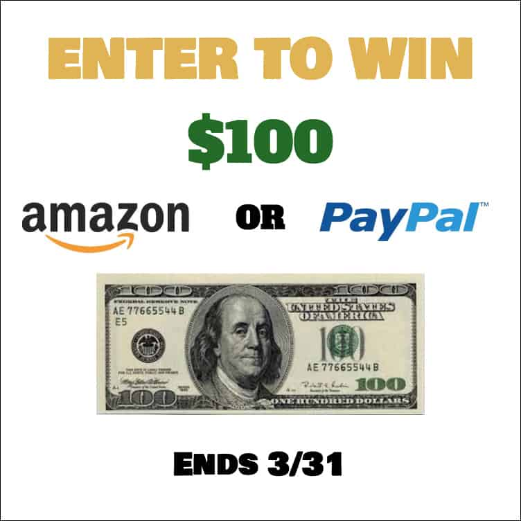 Spring Giveaway $100 Amazon Gift card or PayPal Cash