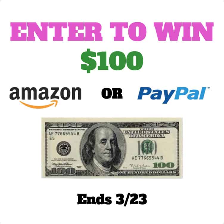 $100 Amazon or Paypal Giveaway
