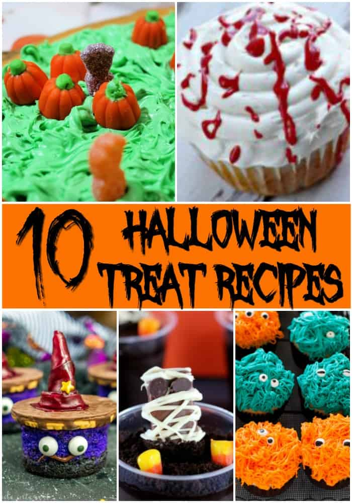 collage of 5 halloween treat recipes