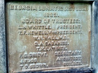 Georgia Lunatic Asylum plaque, Central State Hospital, Milledgeville, Georgia