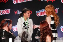 "SHADOWHUNTERS - The cast and creators of ABC Family's ""Shadowhunters"" appear at New York Comic-Con on October 10, 2015 to discuss the new series. ""Shadowhunters"" premieres Tuesday, Jan. 12 at 9 p.m. ET on ABC Family. (ABC Family/Lou Rocco) CASSANDRA CLARE, FANS, KATHERINE MCNAMARA"