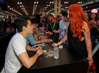 "SHADOWHUNTERS - The cast and creators of ABC Family's ""Shadowhunters"" appear at New York Comic-Con on October 10, 2015 to discuss the new series. ""Shadowhunters"" premieres Tuesday, Jan. 12 at 9 p.m. ET on ABC Family. (ABC Family/Lou Rocco) ALBERTO ROSENDE, FANS"