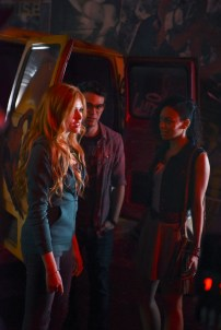 "SHADOWHUNTERS - ""The Mortal Cup"" - One young woman realizes how dark the city can really be when she learns the truth about her past in the series premiere of ""Shadowhunters"" on Tuesday, January 12th at 9:00 - 10:00 PM ET/PT. ABC Family is becoming Freeform in January 2016. Based on the bestselling young adult fantasy book series The Mortal Instruments by Cassandra Clare, ""Shadowhunters"" follows Clary Fray, who finds out on her birthday that she is not who she thinks she is but rather comes from a long line of Shadowhunters - human-angel hybrids who hunt down demons. Now thrown into the world of demon hunting after her mother is kidnapped, Clary must rely on the mysterious Jace and his fellow Shadowhunters Isabelle and Alec to navigate this new dark world. With her best friend Simon in tow, Clary must now live among faeries, warlocks, vampires and werewolves to find answers that could help her find her mother. Nothing is as it seems, including her close family friend Luke who knows more than he is letting on, as well as the enigmatic warlock Magnus Bane who could hold the key to unlocking Clary's past. (ABC Family/John Medland) KATHERINE MCNAMARA, ALBERTO ROSENDE, SHAILENE GARNETT"