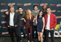 """SHADOWHUNTERS - The cast and producers of Freeform's """"Shadowhunters,"""" are featured at the COMIC CON Convention at the Jacob Javits Center in New York City on October 8, 2016. (ABC/Freeform) DOMINIC SHERWOOD, HARRY SHUM JR., KATHERINE MCNAMARA, MATTHEW DADDARIO, EMERAUDE TOUBIA, ISAIAH MUSTAFA, ALBERTO ROSENDE"""