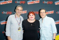 """SHADOWHUNTERS - The cast and producers of Freeform's """"Shadowhunters,"""" are featured at the COMIC CON Convention at the Jacob Javits Center in New York City on October 8, 2016. (ABC/Freeform) TODD SLAVKIN (EXECUTIVE PRODUCER), CASSANDRA CLARE, DARREN SWIMMER (EXECUTIVE PRODUCER)"""