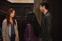 "SHADOWHUNTERS - Clary struggles to find where she belongs, while Simon seeks Magnus' help in ""A Door Into the Dark,"" an all new episode of ""Shadowhunters,"" airing MONDAY, JANUARY 9 (8:00 – 9:00 PM EDT) on Freeform. (Freeform/John Medland) MAXIM ROY, MATTHEW DADDARIO"
