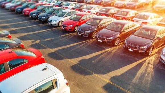 car parking fleet sunset