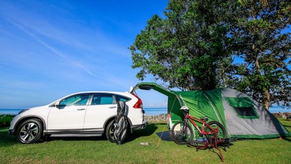 Honda CR-V camping setup cargo