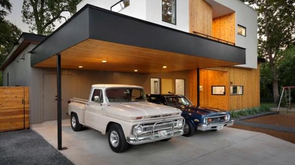 Two car garage carport home