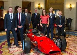 Martin Brundle, Simon Lazenby, Ted Kravitz, David Croft, Natalie Pinkham, Damon Hill and Johnny Herbert at RAC Club