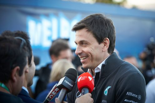 Toto Wolff was certainly pleased with the result. © MERCEDES AMG PETRONAS.