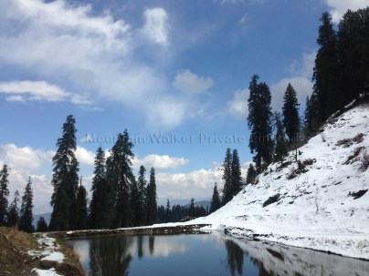 This little pond serves as a little skiing refresher when it freezes over. The pond is near the beautiful meadow 3-kms from the peak and this meadow doubles up as car-park and tea-noodles stall. Photo: sanjay mukherjee