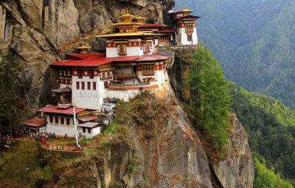 The Taktsang Monastery also known as the Tigers Nest in Paro, Bhutan.