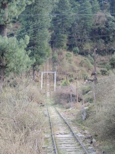 Amazed at the view of the steep incline of the Barot - Jogindernagar funicular rail track; Photo: Abhishek Kaushal