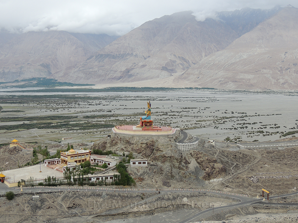 Diskit Monastery, one of the oldest and largest monasteries in Ladakh, provides a colorful relief; Photo: Abhishek Kaushal