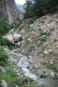 A bridge made from two tree trunks on way to 'Maling Khata'; Photo: Abhinav Kaushal