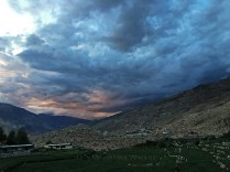 Cosmic Fire-storm gathers over Nako and the mountainside beyond, 7.24 pm; Photo: Sanjay Mukherjee