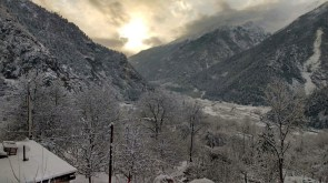 Sunrise in Sangla Valley day after snowfall; Photo: Rahul Negi