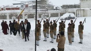 On arrival of the Honorable chief guest at the 68th Republic Day in Spiti.