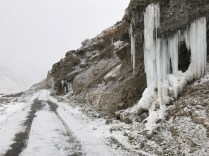 Ice formation formed along the road side whil driving to Shichling.
