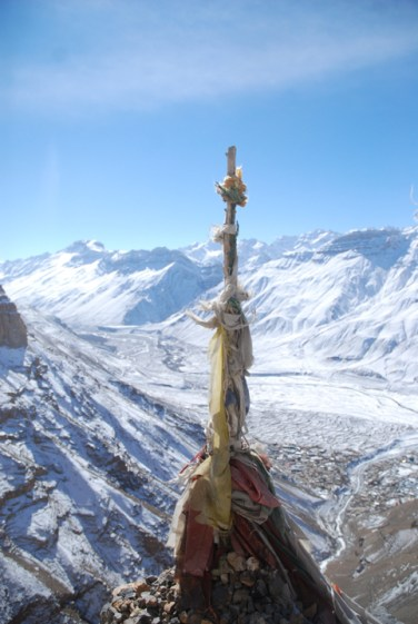 View of Kaza down below the valley, while going to Hikkim by road.