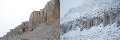 The sudden change in the terrain after in snowfall.