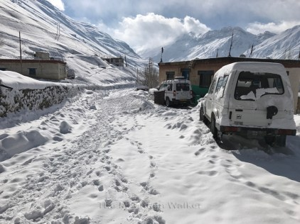 The view of the road after lasts night's snowfall; Photo: Abhinav Kaushal