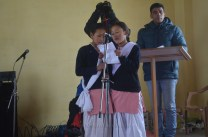 School kids delivering a short speech on the occasion.