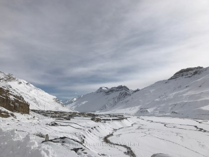 The view of Kaza with the river Spiti looking as if a line drawn with a pencil; Photo: Abhinav Kaushal