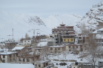 The view of the Kaza Monastery in the morning hours.