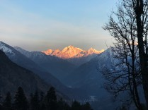 Sunset over majestic peaks, Right to left- Chaturbhuj (6654 m), Matri (6721 m), Chirbus (6529 m); Photo: Swarjit Samajpati
