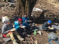 Day 2 - Team enjoying a hearty warm lunch at Angthewda camp site; Photo: Abhishek Kaushal
