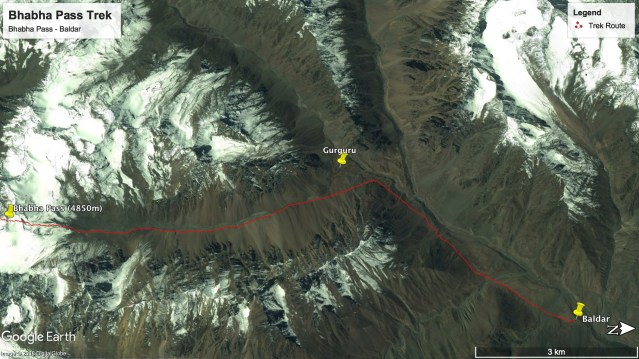 Bhabha Pass Trek - Route from Bhabha Pass to Baldar