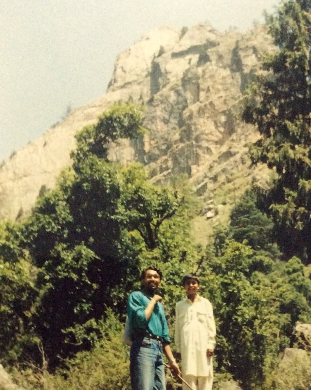 This is a 1992 photograph of the Mountain Walker COO, Ameen Shaikh, enroute the Shaali Tibba.