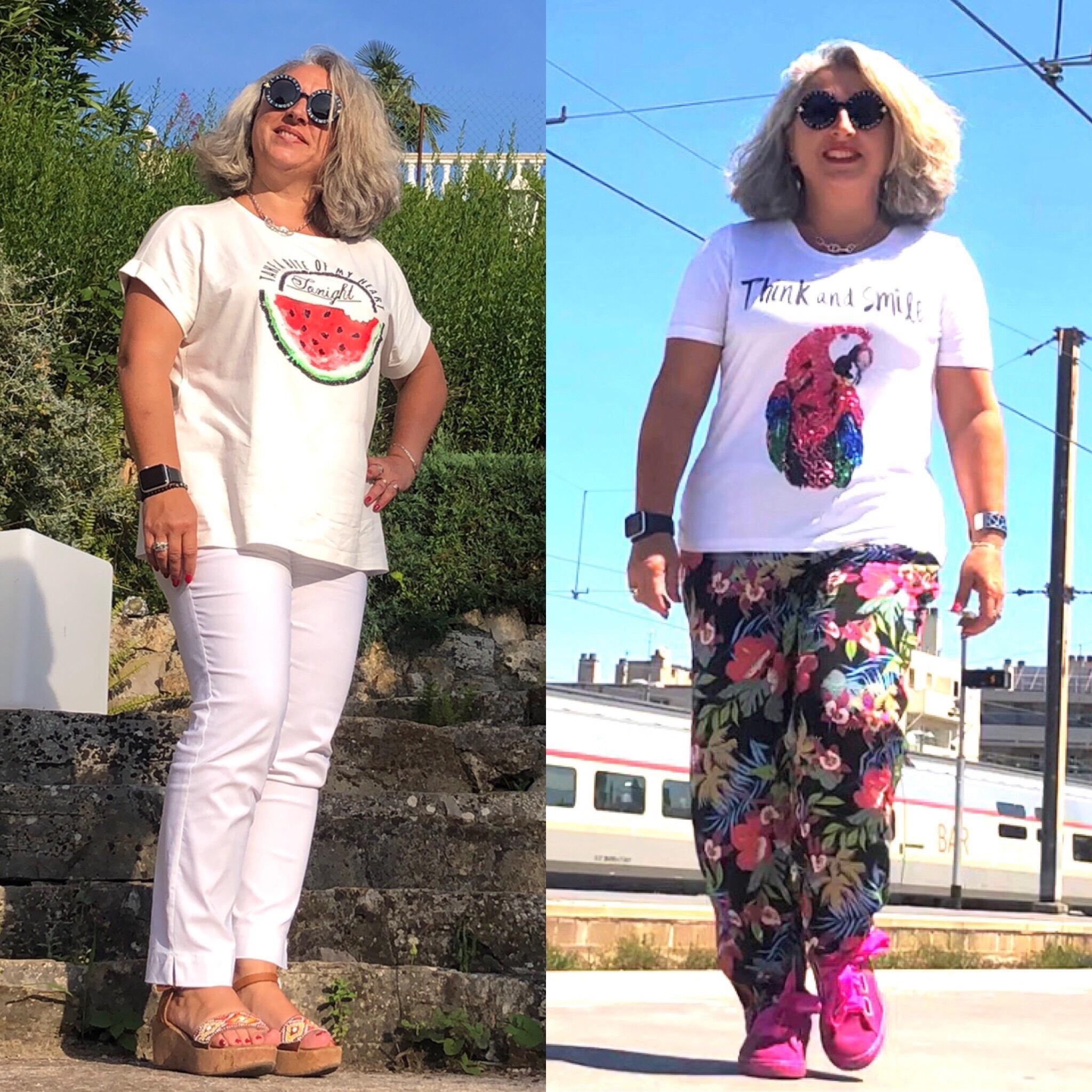 Tropical, blanc et tee-shirts pour l'été…  Idée look avec Peter Hahn #5