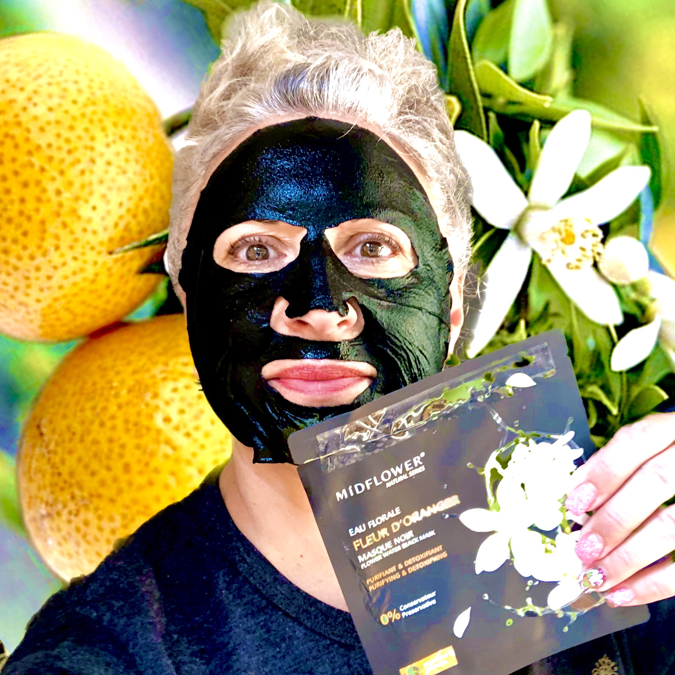 Midflower masque noir à la fleur d'oranger
